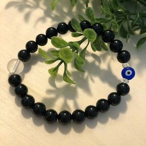 Gemstone bracelet evil eye